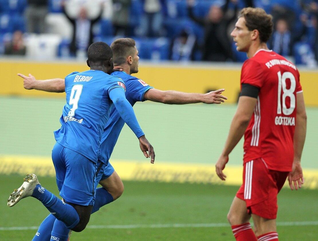 Hoffenheimer Spieler jubeln, Goretzka von Bayern frustriert
