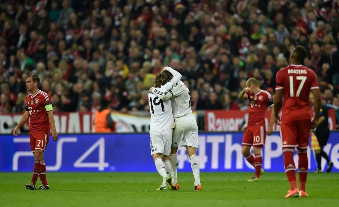 Ronaldo und Modric von Real Madrid jubeln gegen Bayern