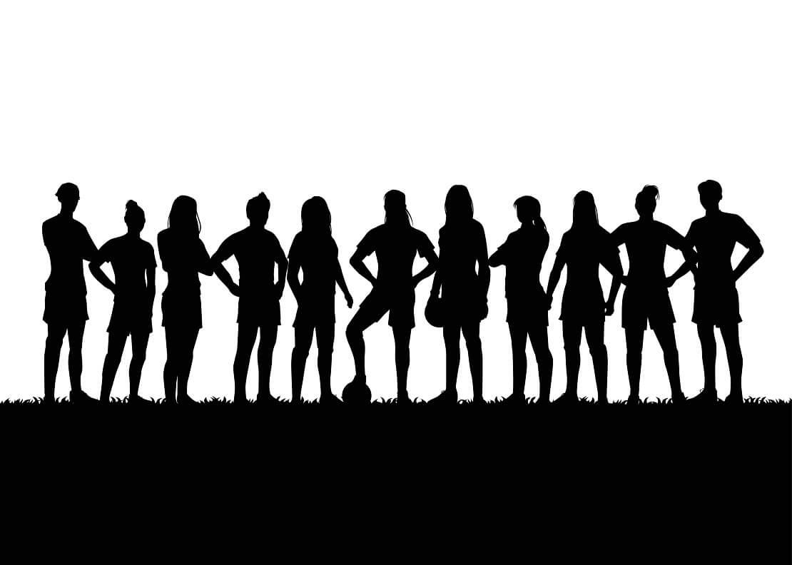 Schattensilhouette eine Damen Fußballteams