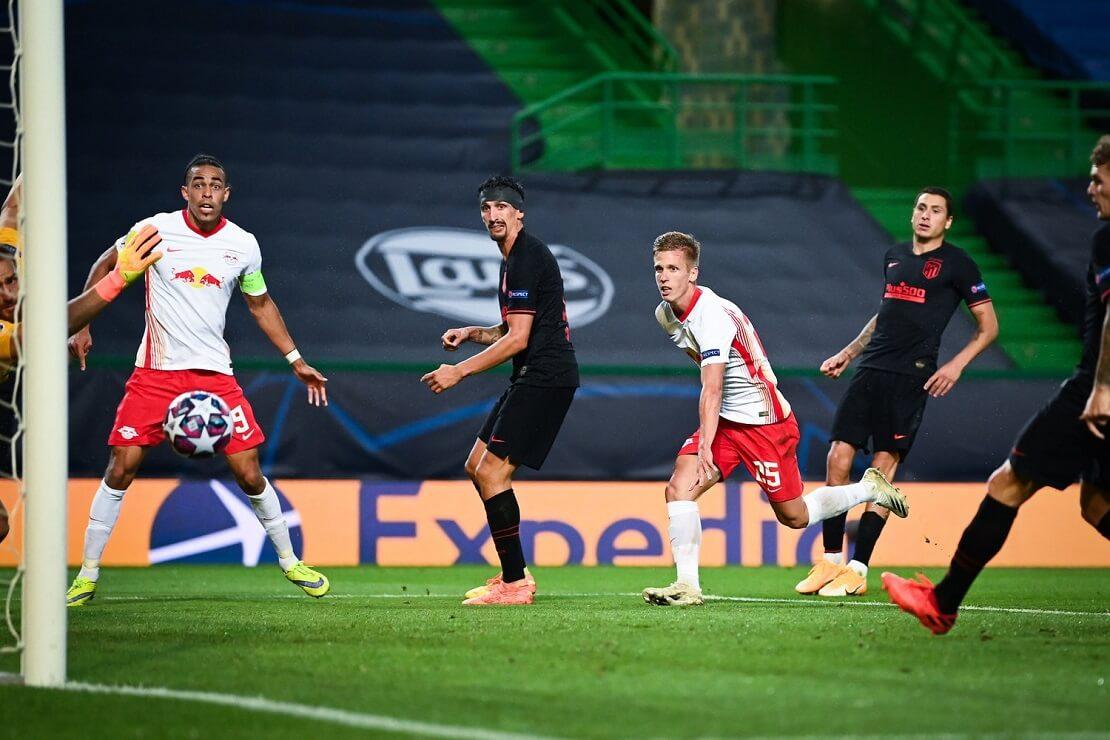 Dani Olmo von RB Leipzig erzielt per Kopf ein Tor gegen Atletico Madrid