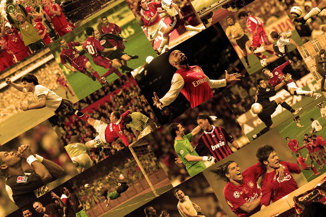Collage mit legendären Fußballszenen