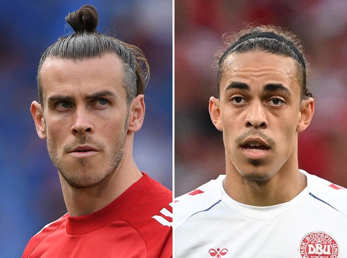 Collage mit Gareth Bale von Wales und Yussuf Poulsen von Dänemark