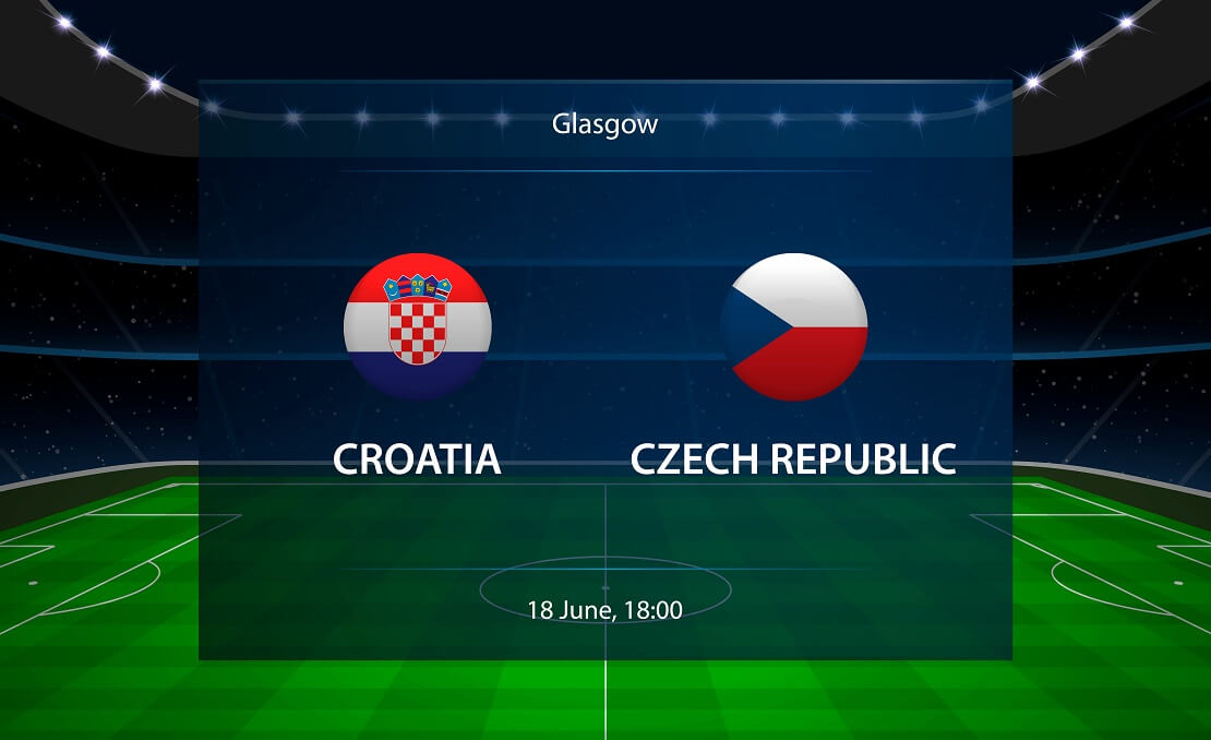 Die Flaggen von Kroatien und Tschechien vor einem virtuellen Stadion