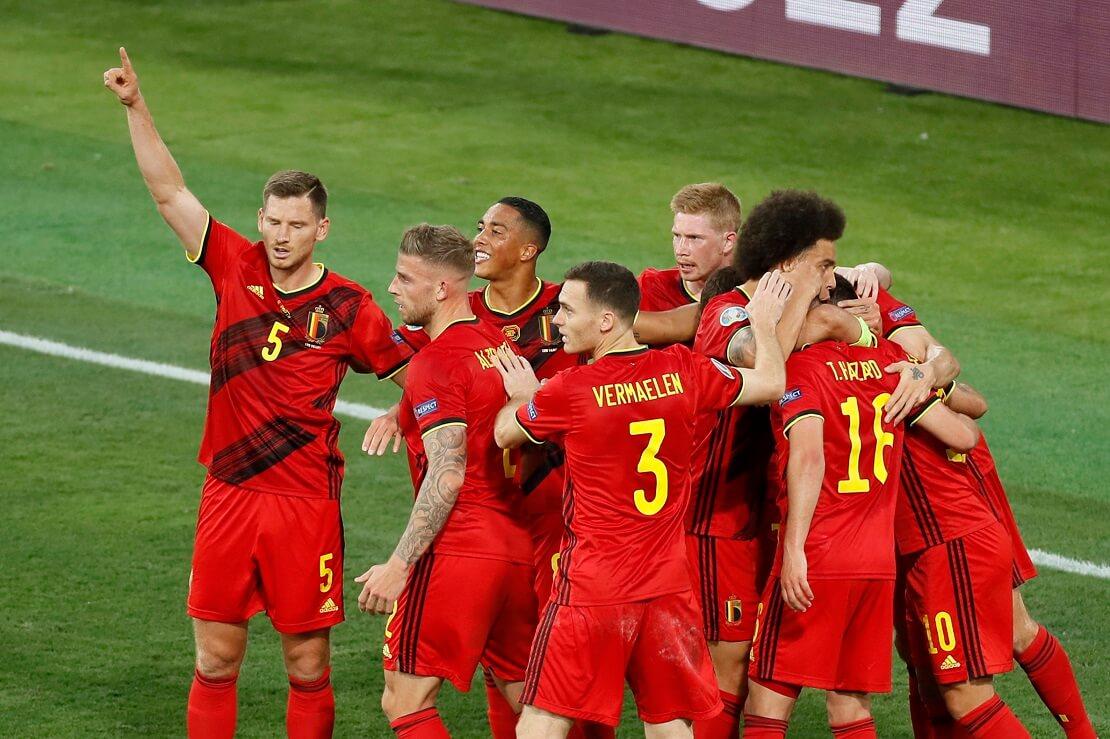 Die belgische Nationalmannschaft feiert