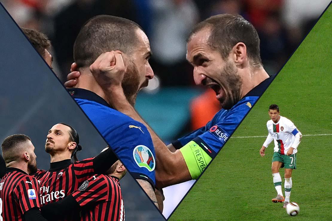 Bilderkollage aus Zlatan Ibrahimovic, Giorgio Chiellini und Cristiano Ronaldo
